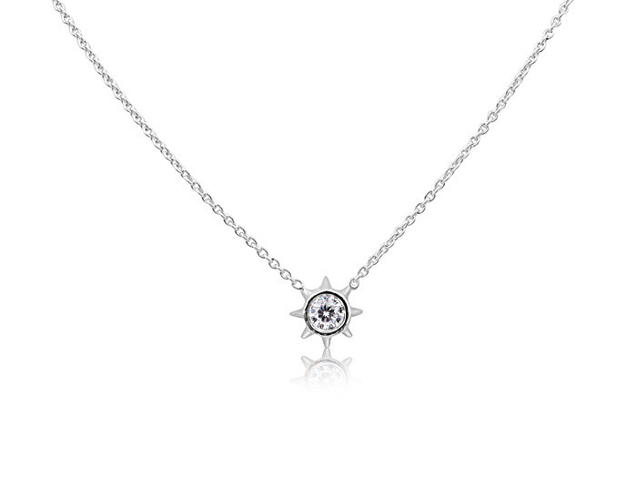 Roberto Coin Cento 18K White Gold Starlight Necklace, Featuring a .10ct Round Diamond, D-G Color, VS Clarity