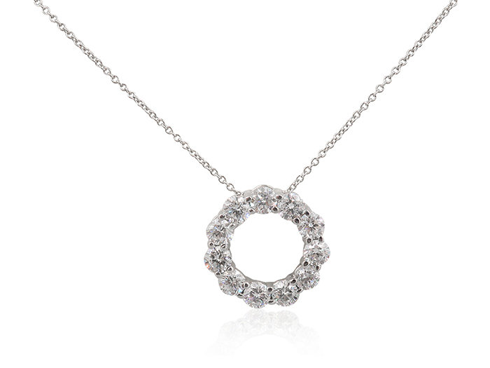 Alson Signature Collection 14K White Gold Diamond Circle Necklace, Featuring 11 Round Diamonds =2.02cts Total Weight, G-H Color, SI Clarity