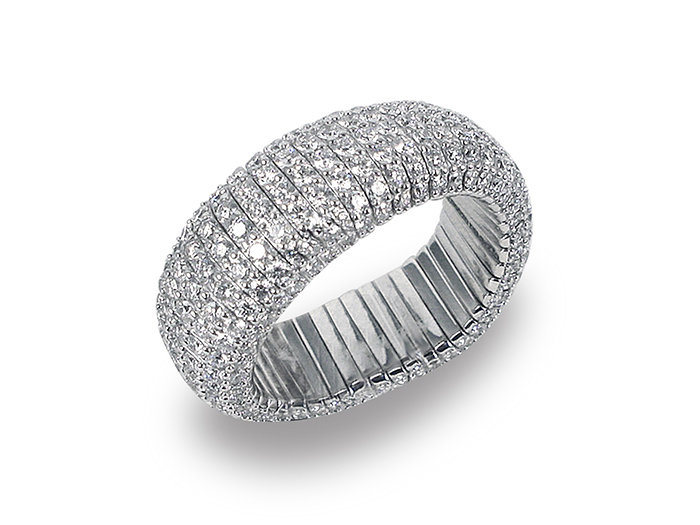 Roberto Demeglio Giotto 4 Ring, Fashioned in 18K White Gold, Featuring Round 322 Round Diamonds =4.16cts Total Weight