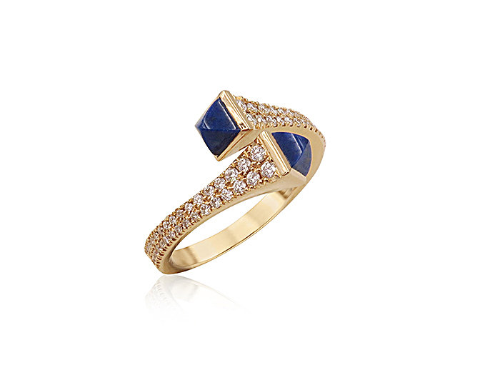 Marli 18K Rose Gold Cleo Wrap Ring, Featuring Lapis =.45cts Total Weight and Round Diamonds =.35cts Total Weight