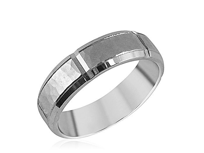 ArtCarved Men's 14K White Gold 6MM Band, with a Hammered Center and High Polished Edges