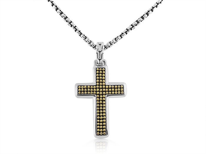 John Hardy Men's Silver Classic Chain Jawan Cross Necklace, on a 26