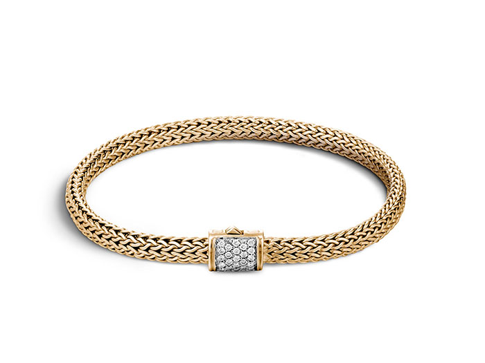John Hardy 18K Yellow Gold Classic Chain Extra Small Bracelet, Featuring Round Diamonds =.18cts Total Weight