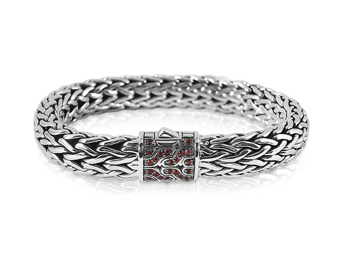 John Hardy 40th Anniversary Large Classic Chain Bracelet, Fashioned in Sterling Silver, Featuring a Clasp with Red Sapphires
