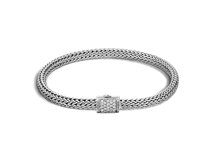 John Hardy Silver Extra Small Classic Chain Diamond Bracelet, Featuring a Clasp with Pave Set Round Diamonds =.18cts Total Weight