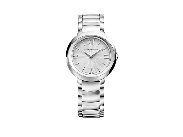 Baume & Mercier Promesse 30MM Watch, Fashioned in Stainless Steel, Featuring a Silver Dial, Bracelet and Quartz Movement