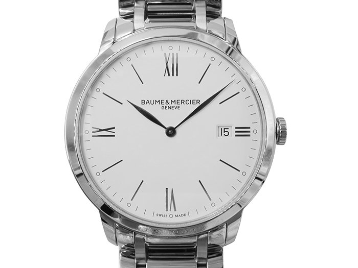 Baume & Mercier Classima 40MM Steel Watch, with a White Dial and Quartz Movement