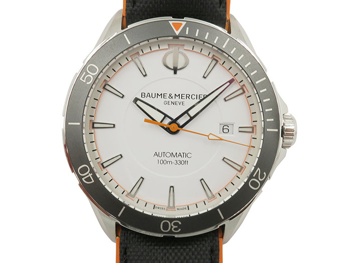 Baume & Mercier Clifton Club 42MM Steel Watch, with a White Dial, Calfskin Leather Strap and Automatic Movement