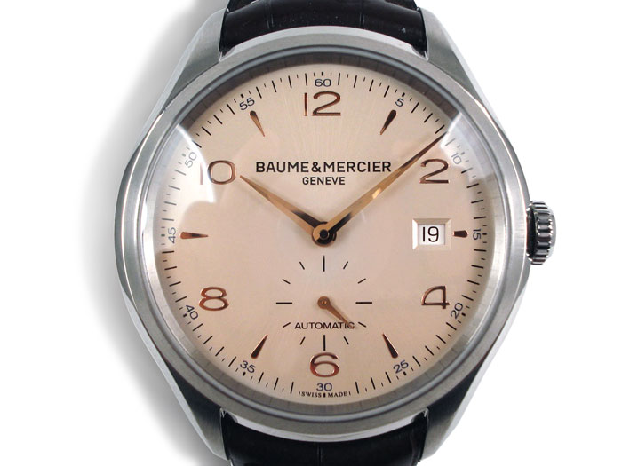 Baume & Mercier Clifton Large Model Watch, Fashioned in Stainless Steel, Featuring a Silver Dial, Brown Alligator Strap and Automatic Movement