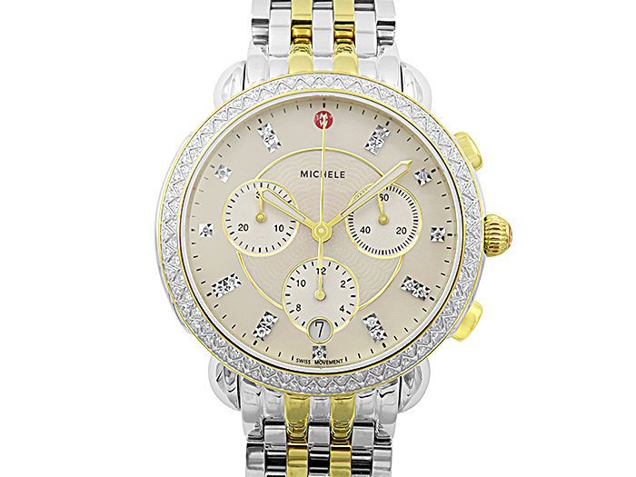 Michele Sidney Chronograph Steel Two-Tone Watch, Featuring a Diamond Case, Diamond Dial and Quartz Movement, Strap and Bracelet Sold Separately