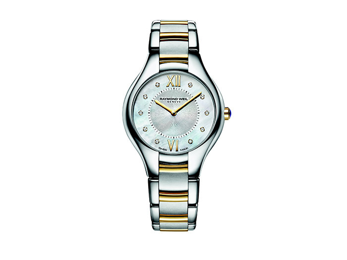 Raymond Weil Noemia Watch, Fashioned in Stainless Steel with Rose Gold Plating, Featuring a Mother of Pearl Dial with Diamond Markers and Quartz Movement