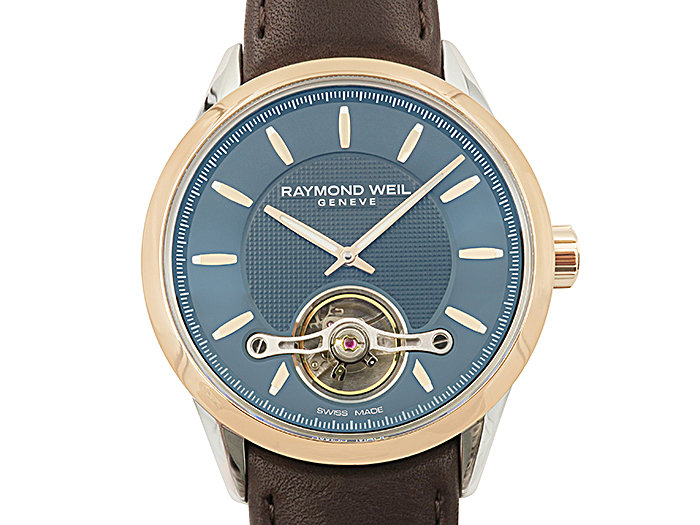 Raymond Weil Freelancer 42MM Two-Tone Watch, Featuring a Black Dial, Brown Leather Strap and Automatic Movement