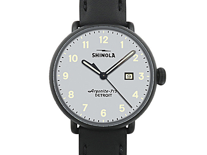 Shinola Canfield 43MM Steel Watch, Sandblasted PVD Black with AFC, Grey Dial, Black Leather Strap and Quartz Movement