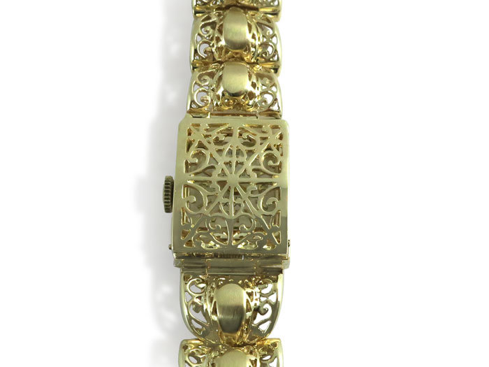Alson Pre-Owned Ladies Rox Covered Bracelet Watch, Fashioned in 14K Yellow Gold, with a 17-Jewel Movement