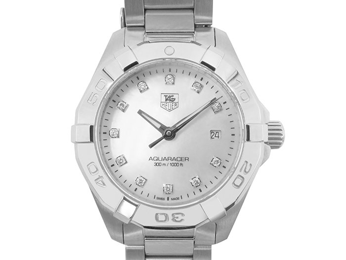 Alson Pre-Owned Tag Heuer Ladies 27mm Stainless Steel Aquaracer, Mother of Pearl Dial, Diamond Dial, Quartz