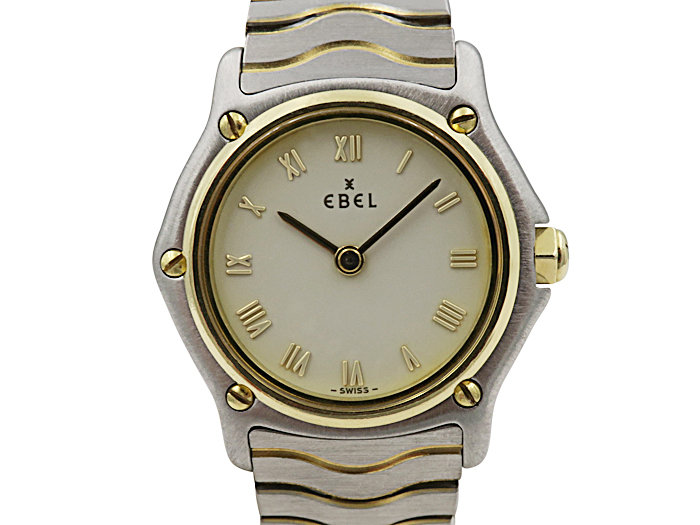 Alson Pre-Owned Ebel Wave Steel & 18K Yellow Gold Watch, with an Ivory Roman Numeral Dial and Quartz Movement