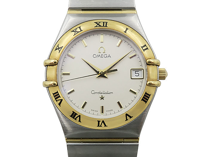 Alson Pre-Owned Omega Constellation 35MM Steel & 18K Yellow Gold Watch, with an Ivory Dial with Stick Markers and Quartz Movement