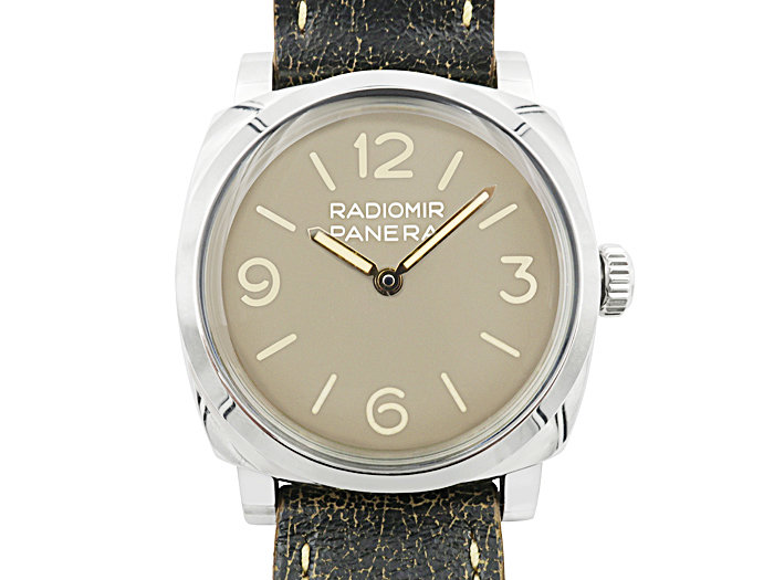 Alson Pre-Owned Panerai Radiomir 1940 Limited Edition 47MM Steel Watch, with a Brown Dial, Brown Leather Strap, 3-Day Power Reserve and Exhibition Case Back