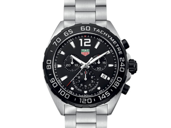 Tag Heuer Formula 1 Chronograph 43MM Stainless Steel Watch, with a Black Dial and Quartz Movement