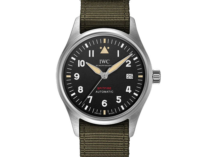 IWC Pilot's Spitfire 39MM Steel Watch, with a Black Dial, Green Textile Strap and Automatic Movement with 72 Hours Power Reserve