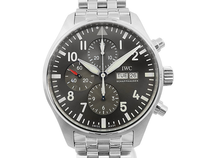 IWC Pilot's Chronograph Spitfire 43MM Steel Watch, with a Slate Dial, Automatic Movement with 44 Hours Power Reserve